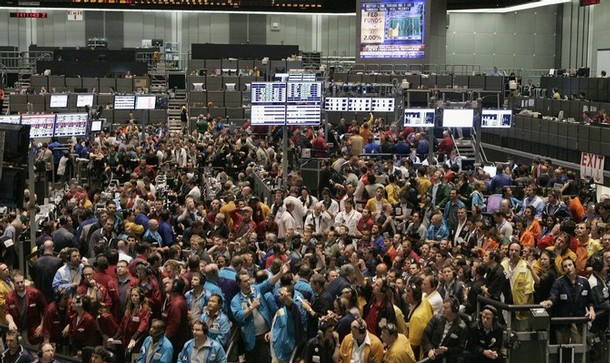 An overall view of trading pits at the CBOT in Chcago